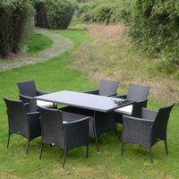 Rattan Wicker Furniture Cube Dining Set - Black