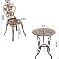 3PCS Bistro Sets Cast Aluminum Rose Design Table Chair Furniture - Bronze / 11.5kg
