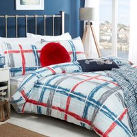 Padstow Check Blue Printed Duvet Cover and Pillowcase Set - Single