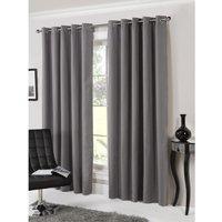 Bucking Blackout Eyelet Curtains - Silver / 117cm / 137cm