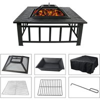 Outdoor Wood Burning Fireplace for Grill - Black