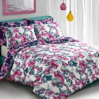 Tropical Floral Purple Duvet Cover and Pillowcase Set - Single
