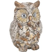 Wood Effect Solar Owl