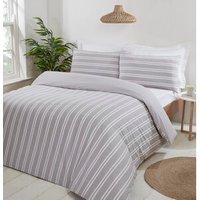 Henley Stripe Duvet Cover and Pillowcase Set - Grey / Single