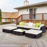 6 PCs Garden Rattan Furniture Set - Brown