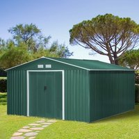 13 x 11ft Outdoor Garden Roofed Metal Storage Shed - Green