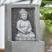 Light Grey Meditating Buddha Water Feature - Grey