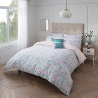 Sam Faiers Hallie Duvet Cover and Pillowcase Set - Pastel Pink / Aqua Blue / Super King