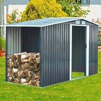 Metal Garden Shed Outdoor Storage - Black / 132cm