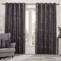 Medina Jacquard Eyelet Curtains - Charcoal / 168cm / 137cm