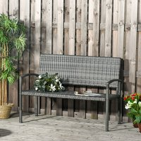 Patio Rattan 2 Seater Garden Bench Love Seater - Grey
