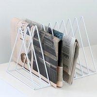 Triangle Metal Wire Magazine Sorter Organizer Rack - White