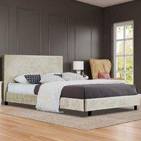 Cream Crushed Velvet Bed Frame  - Double