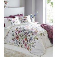 Cassandra Duvet Cover and Pillowcase Set - White/Burgundy / Double
