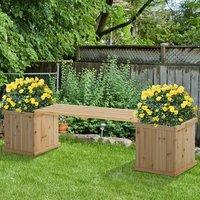Wooden Garden Planter and Bench Combination  - Natural