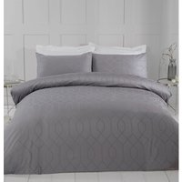 Imani Jacquard Duvet Cover and Pillowcase Set  - Grey / Single