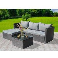 BIRCHTREE 5 PCS Rattan Garden Furniture Set Corner Sofa Glass Table - Black
