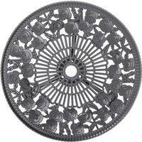 3PCS Bistro Sets Cast Aluminum Rose Design Table Chair Furniture - Black / 11.5kg
