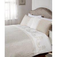 Lace Linen White Duvet Cover and Pillowcase Set - White / Single
