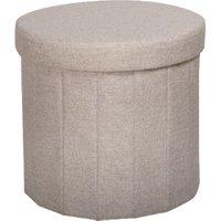 'Merida Round Foldable Storage Ottoman - Beige