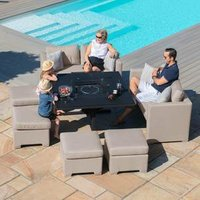 Maze Rattan Fuzion Sofa Cube Set With Fire Pit - Taupe