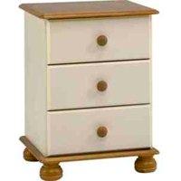 Richmond Three Drawer Bedside Table - Cream