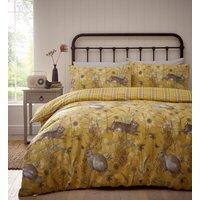 Rabbit Meadow Duvet And Pillowcase Set - Ochre / Superking