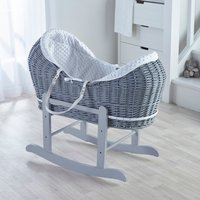 Dimple Grey Pod Moses Basket with Little Gem Rocking Stand  - Grey