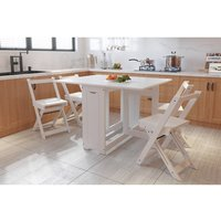 WestWood Folding Dining Table and 4 Chairs Set  - White