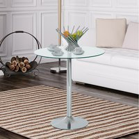 Metal Round Bar Table with Glass Top - Silver