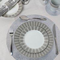 12 Piece Platinum Herringbone Dinner Set