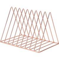 Triangle Metal Wire Magazine Sorter Organizer Rack - Rose Gold