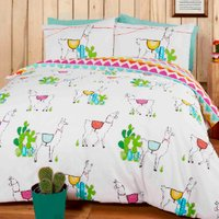 Happy Llamas Multicoloured Duvet Cover and Pillowcase Set - Double