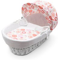 Funky Flowers White Wicker Moses Basket - White
