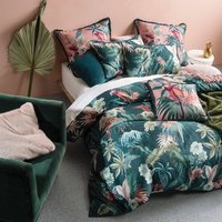 Luscious Leaf Duvet Cover Set - Teal / King