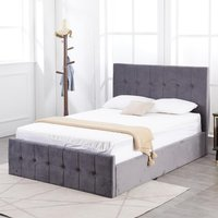 Grey Small Double Velvet Milano Bed Frame Storage Bed