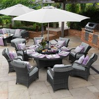 Olivia 8 Seater Rattan Round Dining Set - Grey