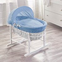 Blue Dimple White Wicker Moses Basket with White Rocking Stand