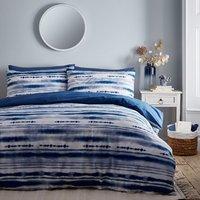 Shibori Stripe 144 Thread Count Duvet Cover and Pillowcase Set - Indigo / Single