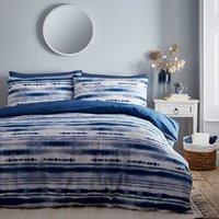 Shibori Stripe 144 Thread Count Duvet Cover and Pillowcase Set - Indigo / Double