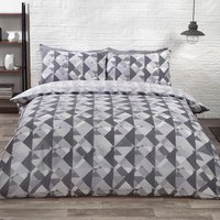 Soho Geometric Duvet Cover and Pillowcase Set - Silver / Double