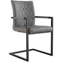 Pair of Diamond Stitch Carver Chairs With Metal Legs - Grey