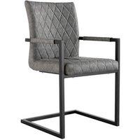 Diamond Stitch Carver Chair With Metal Legs - Grey
