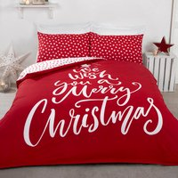 Wish A Merry Christmas Duvet Cover and Pillowcase Set - Red / King