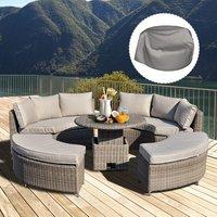 5 PCs Outdoor Rattan Lounge Conversation Set  - Grey