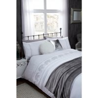 Embroidery Elephant Duvet Cover and Pillowcase Set - White / Double