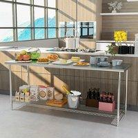 Kitchen Wire Base Work Table - Silver / 180cm