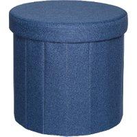 'Merida Round Foldable Storage Ottoman - Dark Blue