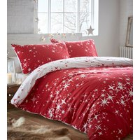 Flannelette Galaxy Duvet Cover and Pillowcase Set  - Red / Double