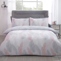 Feather Duvet Cover and Pillowcase Set - Blush / Double